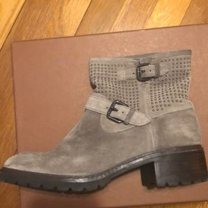 Coach - Grey Suede Studded Moto Boots